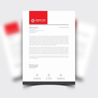 Modèle de papier à en-tête avec détails rouges