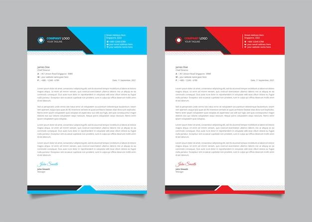 Modèle de papier à en-tête d'entreprise créative avec forme rouge, bleue et noire