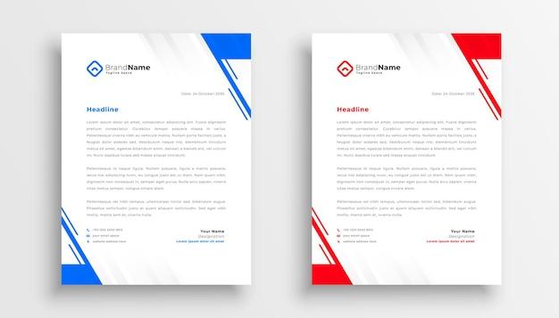 Modèle de papier à en-tête d'entreprise moderne dans les couleurs bleu et rouge