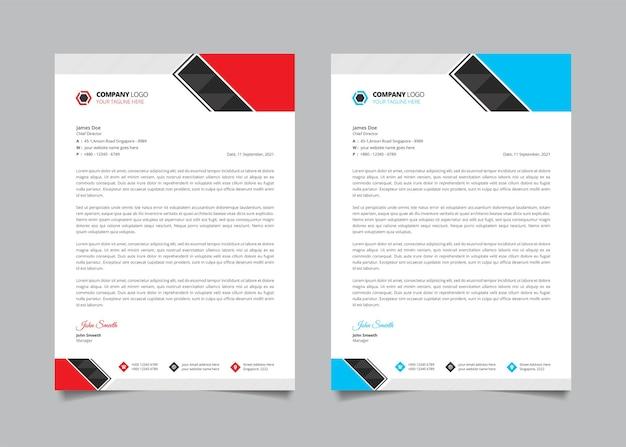 Modèle de papier à en-tête d'entreprise professionnel et moderne