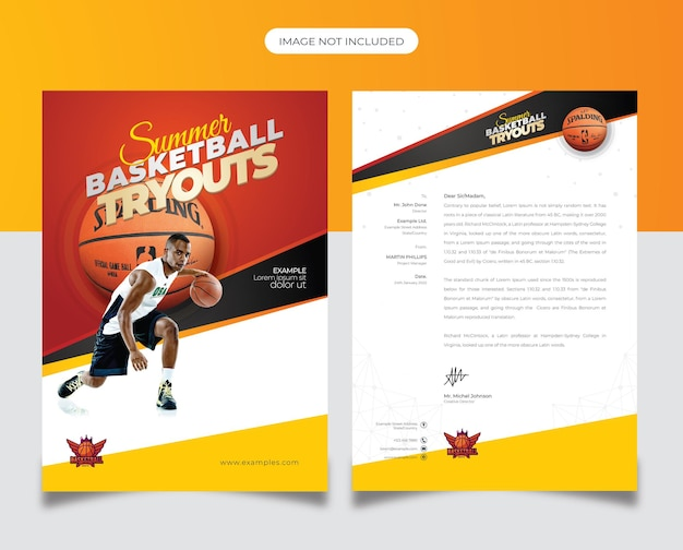 Modèle de papier à en-tête des essais de basket-ball
