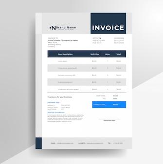 Modèle de papier à en-tête de facture d'entreprise minimaliste simple