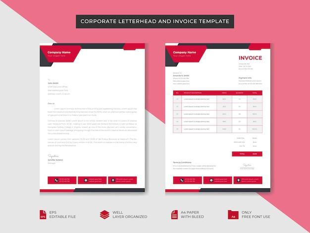 Modèle de papier à en-tête et de facture d'entreprise modèle de conception d'identité de marque d'entreprise