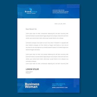 Modèle de papier à en-tête de femme d'affaires