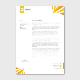 Modèle de papier à en-tête jaune minimaliste moderne