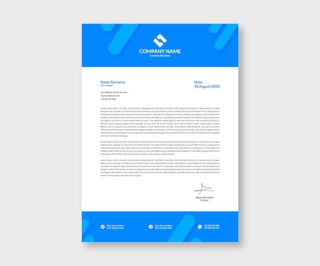 Modèle de papier à en-tête plat minimaliste bleu clair