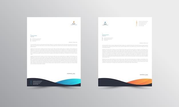 Modèle de papier à en-tête de résumé abstrait bleu et orange