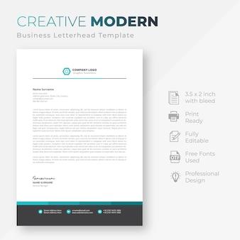 Modèle de papier à en-tête de société moderne