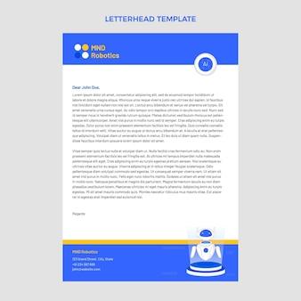 Modèle de papier à en-tête de technologie minimale design plat
