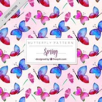 Modèle de papillons d'aquarelle rose et bleu