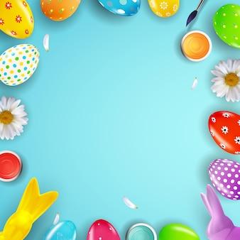 Modèle de pâques avec peinture d'oeufs réalistes 3d.