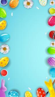 Modèle de pâques avec peinture d'oeufs réalistes 3d