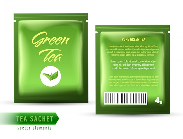 Modèle de paquet de sachet de thé sur fond blanc. sachet de thé réaliste.