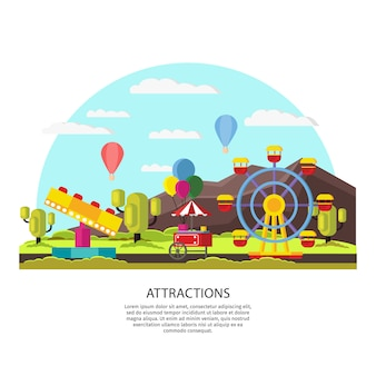 Modèle de parc d'attractions coloré