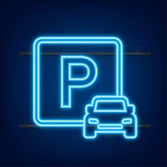 Modèle avec parking bleu. logo, icône, étiquette. icône néon. élément web. illustration vectorielle
