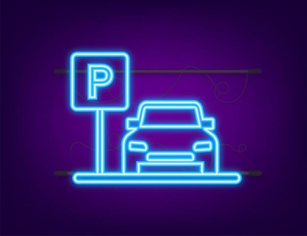 Modèle avec parking. logo, icône, étiquette. stationnement sur fond blanc. icône néon. élément web. illustration vectorielle de stock.