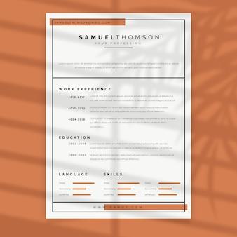Modèle pastel minimaliste curriculum vitae