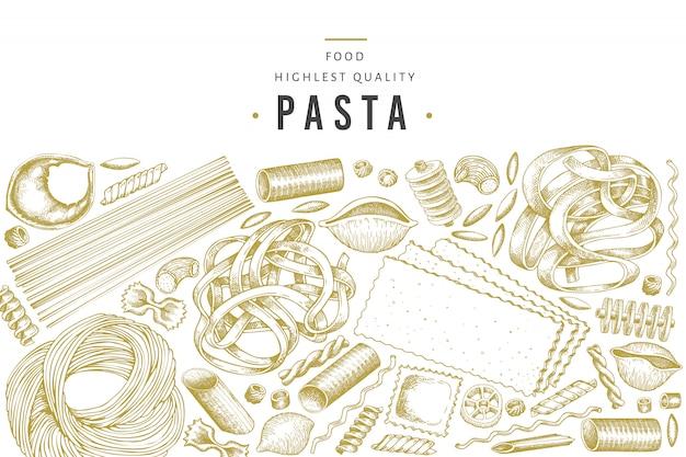 Modèle de pâtes italiennes. illustration de nourriture dessiné à la main.