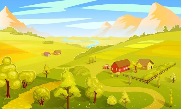 Modèle de paysage d'été coloré