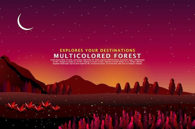 Modèle de paysage de forêt fantastique
