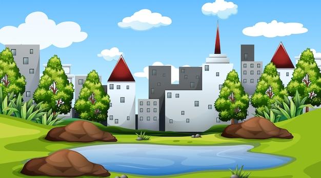 Modèle de paysage nature scène