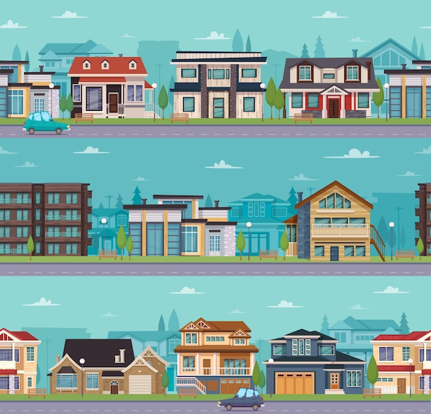Modèle de paysage urbain sans couture avec maisons de banlieue et chalets