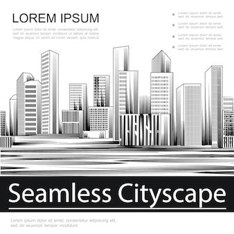 Modèle de paysage urbain sans soudure de gravure