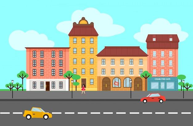 Modèle de paysage de ville de printemps coloré