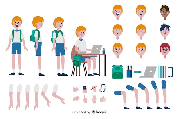 Modèle de personnage de dessin animé enfant