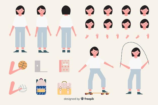 Modèle de personnage de dessin animé femme sportive