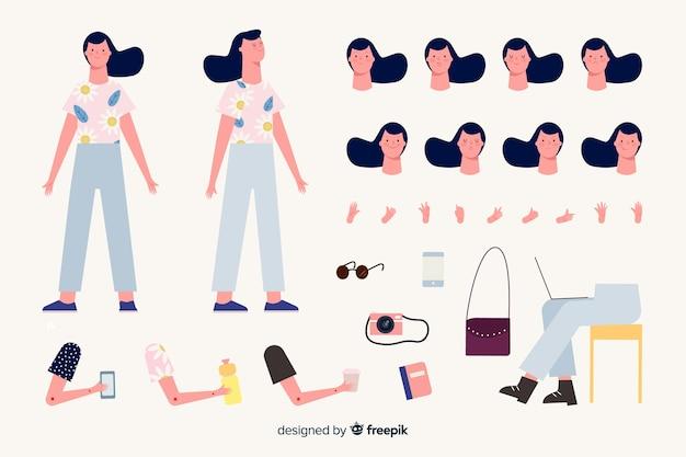 Modèle de personnage de dessin animé fille brune