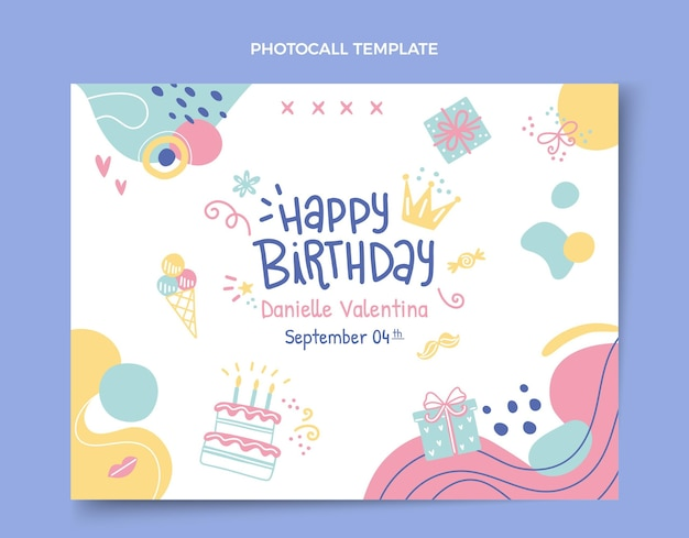 Modèle de photocall anniversaire dessiné à la main