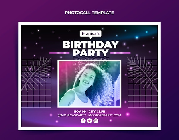 Modèle de photocall anniversaire vaporwave rétro dégradé