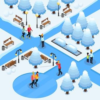 Modèle de photographie freelance isométrique avec des photographes faisant des photos de couples sportifs dans un parc d'hiver isolé