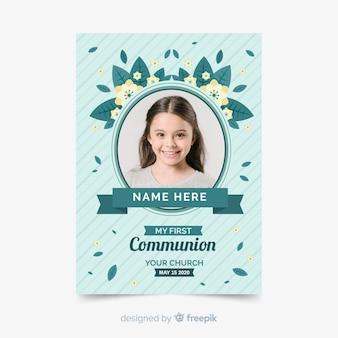 Modèle photographique d'invitation à la première communion