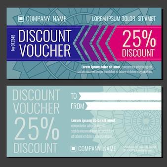 Modèle de pièce justificative carte vecteur moderne cadeau coupon