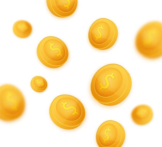 Modèle de pièce de monnaie avec le symbole du dollar. pièce de dessin animé en or. illustration vectorielle.