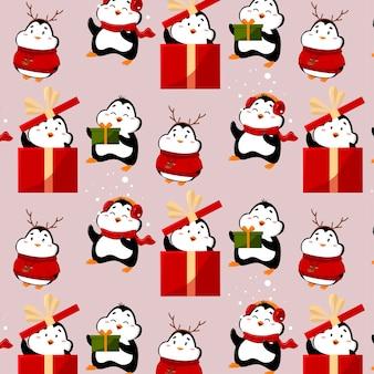Modèle avec des pingouins drôles et mignons les pingouins ont des cadeaux et des chapeaux drôles