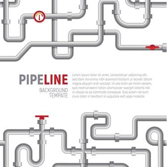 Modèle de pipelines sur modèle d'affiche avec modèle de texte, illustration vectorielle