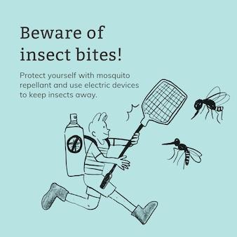 Modèle de piqûres d'insectes publicité sur les réseaux sociaux de santé