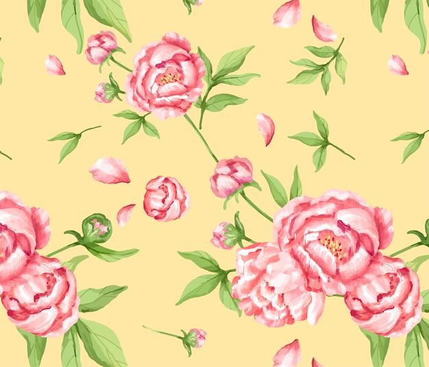 Modèle de pivoine rose dessiné à la main