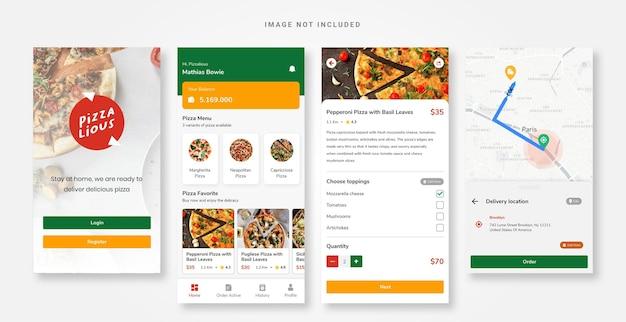 Modèle de pizza d'application de conception d'interface utilisateur