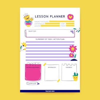 Modèle de plan de leçon de printemps préscolaire floral coloré