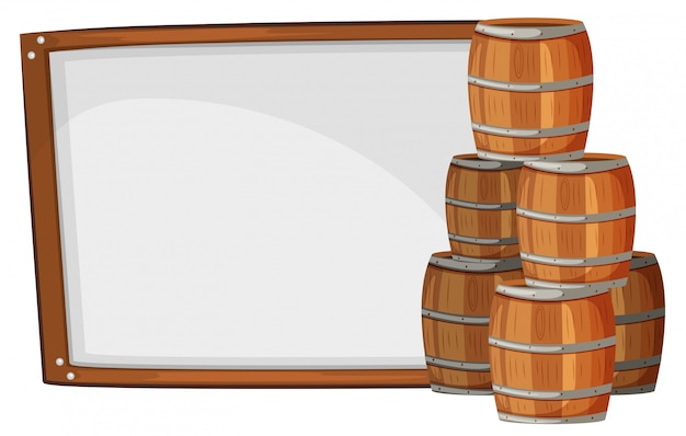 Modèle de planche avec des barils sur le côté