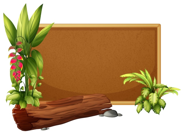 Modèle de planche avec plantes sauvages et bûche