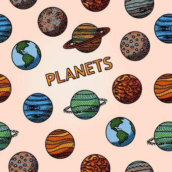 Modèle de planète dessiné à la main