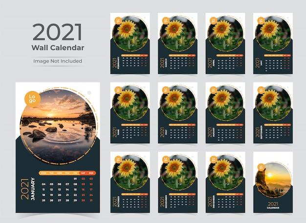 Modèle de planificateur de calendrier mural pour l'année 2021