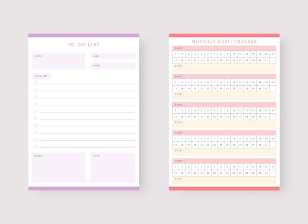 Modèle de planificateur d'habitudes mensuelles et de liste de tâches ensemble de planificateur et de liste de tâches