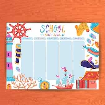 Modèle de planificateur hebdomadaire calendrier mignon. illustration de thème marin. organisateur et horaire. horaires de cours