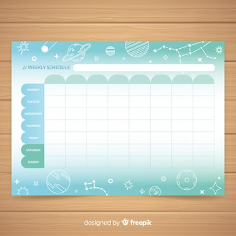 Modèle de planificateur hebdomadaire coloré dessiné à la main